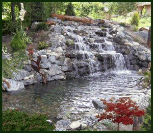 Landscaping With Waterfall And Pond